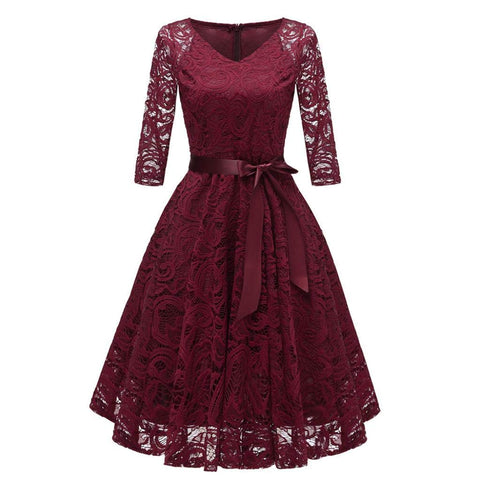 Women Dress Vintage Princess Floral Solid Lace Cocktail V-Neck Party A-Line Dress (S,Wine) - Shop IB