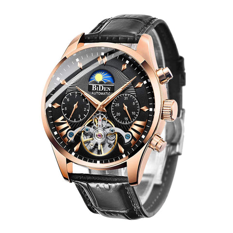 Mens Watches Men Mechanical Automatic Waterproof Skeleton Gold Stainless Steel Wrist Watch Luminous Date Calendar Moon Phase - Shop IB