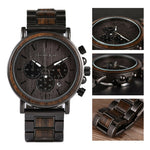 Mens Wooden Watches Quartz Business Stainless Steel Chronograph Date Wrist Watch - Shop IB
