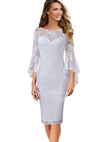 VfEmage Womens Elegant Bell Sleeve Floral Lace Cocktail Party Sheath Dress 9606 WHT 14 - Shop IB