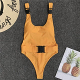 One Piece Swimsuit Belt Jumpsuit with Push-Up Padded Bra - Shop IB