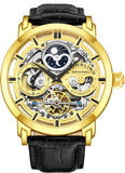Stuhrling Original Mens Skeleton Automatic Dual Time Watch with Leather Band 371 - Shop IB