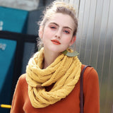 Winter Knitted Cable Ring Scarf Female Autumn Infinity Scarves - Shop IB