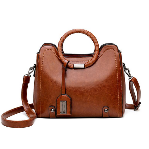 Small square bag oil leather one shoulder slung handbag - Shop IB
