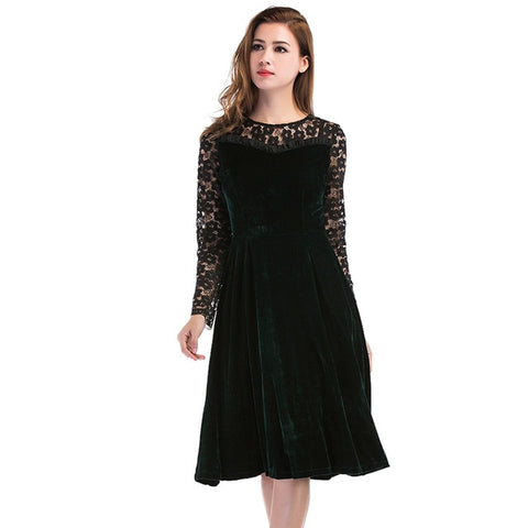 Summer Autumn Dress Women Casual Long Sleeve Hollow Out Sexy Lace Dress - Shop IB