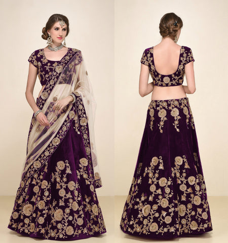 ROYAL PURPLE ALL OVER EMBROIDERED VELVET LEHENGA - Shop IB