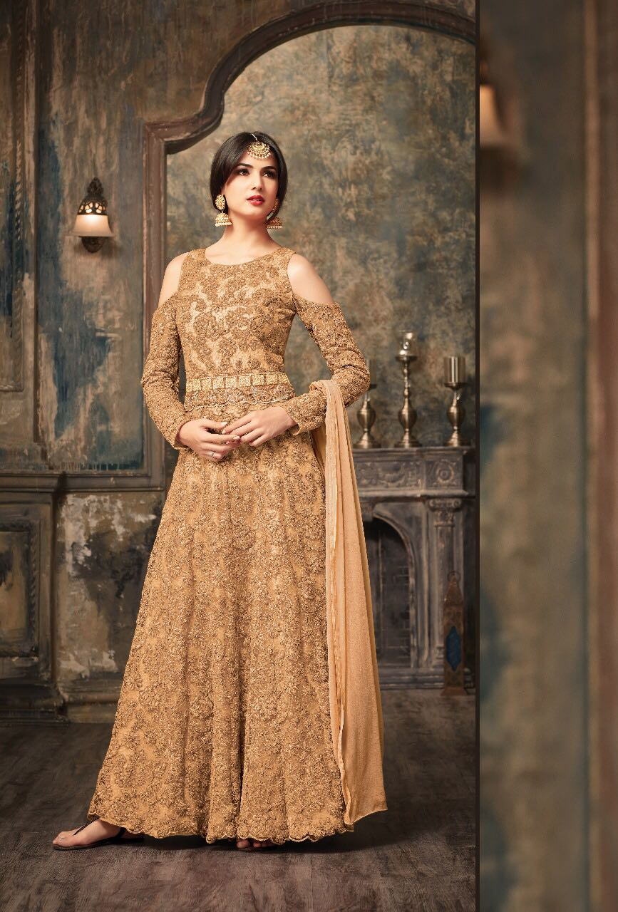 MESMERIZING LONG INDIAN GOWN IN CONTEMPORARY PATTERN. - Shop IB