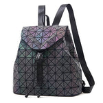 Luminous Backpack Leather Geometric Backpacks with Diamond Lattice Holographic Design - Shop IB