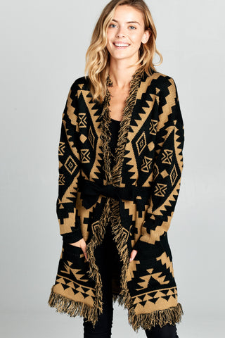 PRINT THICK KNIT CARDIGAN WITH WAIST TIE - Shop IB