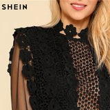 SHEIN Sexy Party Dresses Women Black Long Sleeve High Waist Guipure Lace Applique Contrast Mesh Bodice Sheath Dress - Shop IB