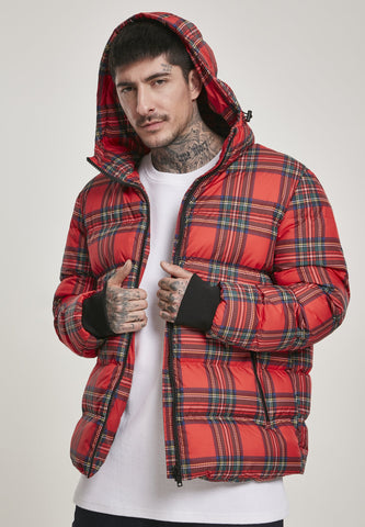 Hooded Check Puffer Jacket - Shop IB