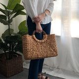 Women Vintage Rattan Handbag Female Bohemian Summer Beach Straw Bags - Shop IB