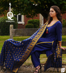 Silk Designer Suit in Navy Blue - Shop IB