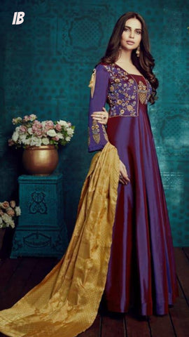 Silk Anarkali Designer Suit - Shop IB