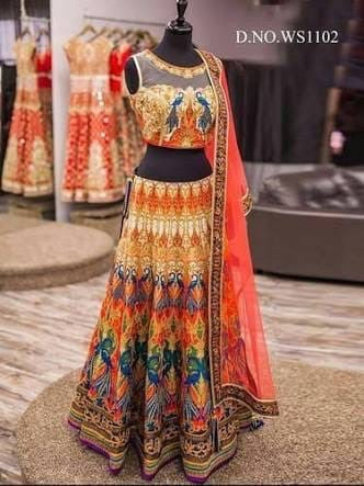 Satin Digital Print Peacock Lehenga - Shop IB