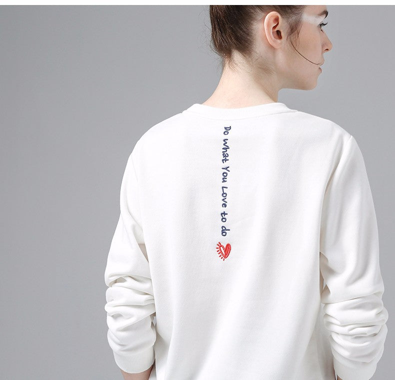 Toyouth White Sweatshirts Spring Women Letter Printed Hoodie
