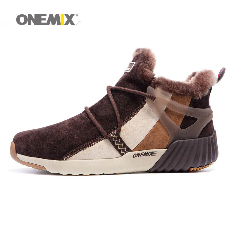 ONEMIX New Winter Men's Boots Warm Wool Sneakers Outdoor Unisex Athletic Sport Shoes Comfortable Running Shoes Sale Size EU36-45 - Shop IB