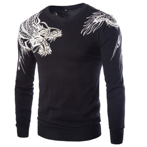 New Fashion Dragon Style High Quality Men's Slim Fit Printed Sweaters Hot Sell Male Warm Pullovers 3Color M-XXL - Shop IB