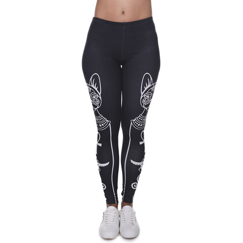 Zohra High Elasticity Egyptian cat symbols Leggings - Shop IB