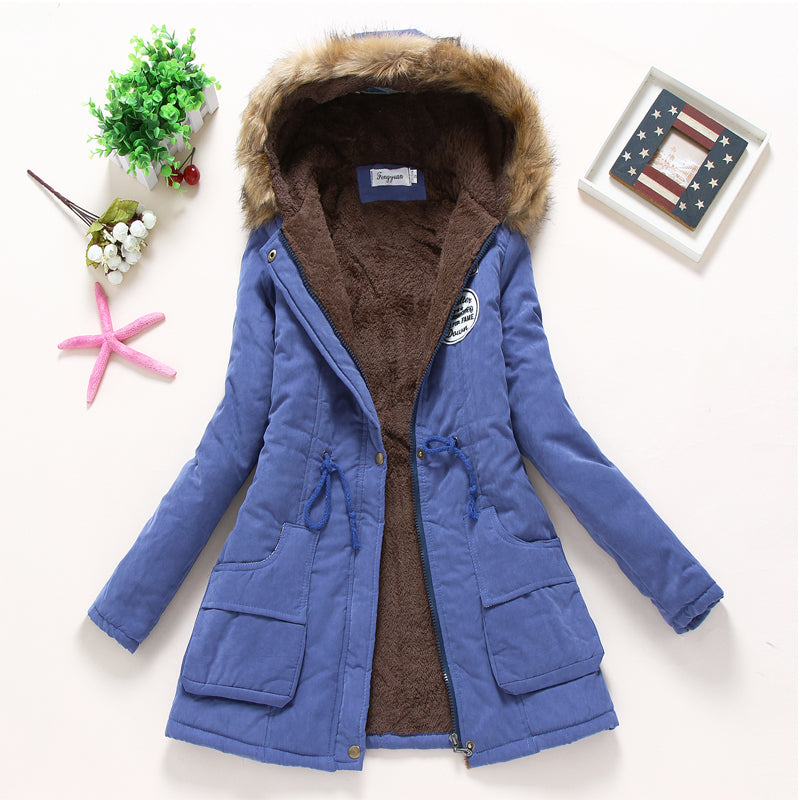 Winter jacket women wadded jacket female outerwear slim winter hooded coat long cotton padded fur collar parkas plus size - Shop IB