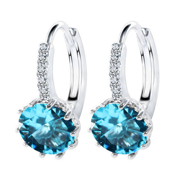 Luxury Ear Stud Earrings/12 Colors Round With Cubic Zircon Earrings Women - Shop IB
