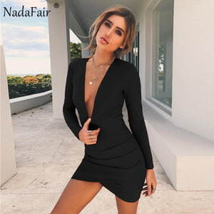 Nadafair Deep V Neck Backless Skinny Full Sleeve Mini Sexy Bodycon Party Club Dresses Red Black - Shop IB