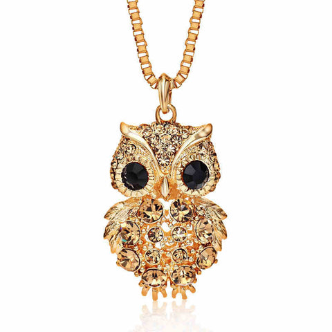 Retro Antique Alloy with Rhinestone Crystal Owl Long Necklace GD - Shop IB