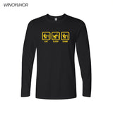 New Fashion Eat Sleep Game XBOX Gamer Funny T-shirt Men Humor Casual Printed College Mens HipHop Long Sleeve T Shirt - Shop IB