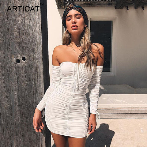 Women Bandage Dress Off Shoulder Long Sleeve Slim Elastic Bodycon Party Dress - Shop IB