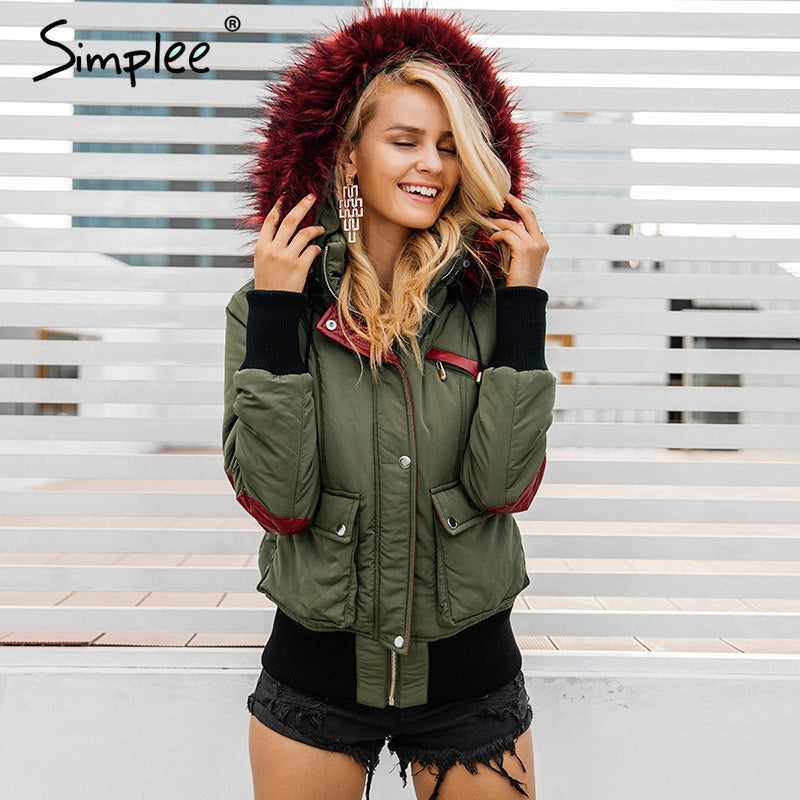 Simplee Hood padded parka winter jacket for women - Shop IB