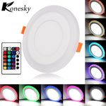 Konesky 6W 9W 18W 24W Round LED Panel Light Ultra Slim Concealed Dual Color Cool White+RGB Panel Lamp Downlight AC100-265V - Shop IB