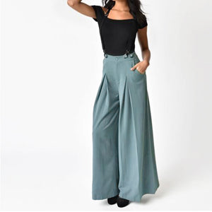 Women Vintage Strap Two Wear Wide Leg Pants Loose