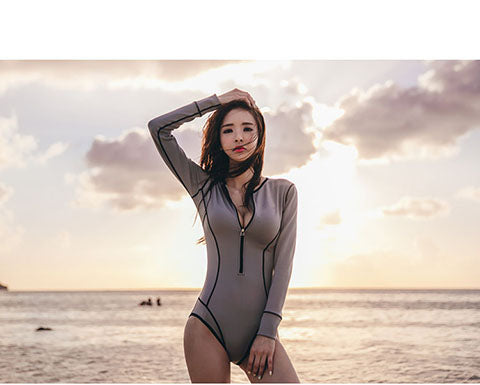 New Zip Lift Surf Suit with Long Sleeve one piece bathing suit - Shop IB