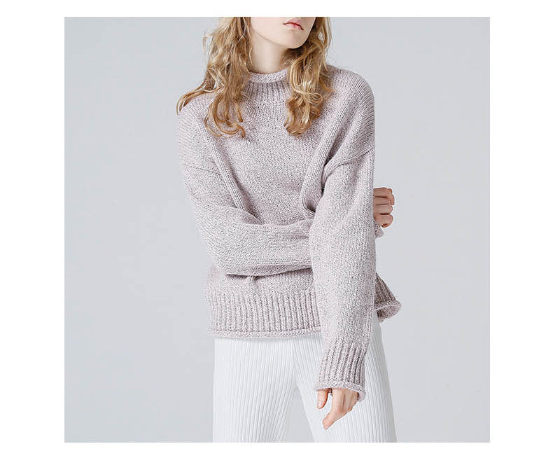 Toyouth Sweater /Jumper for Women /Turtleneck Solid Color Long Sleeve Knitted Pullover - Shop IB