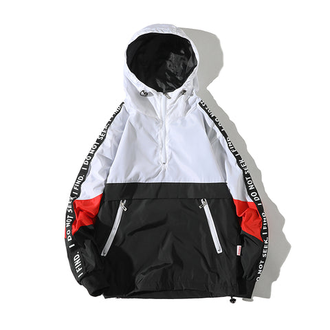 Una Reta Hooded Jackets Men 2018 New Patchwork Color Block Jacket - Shop IB
