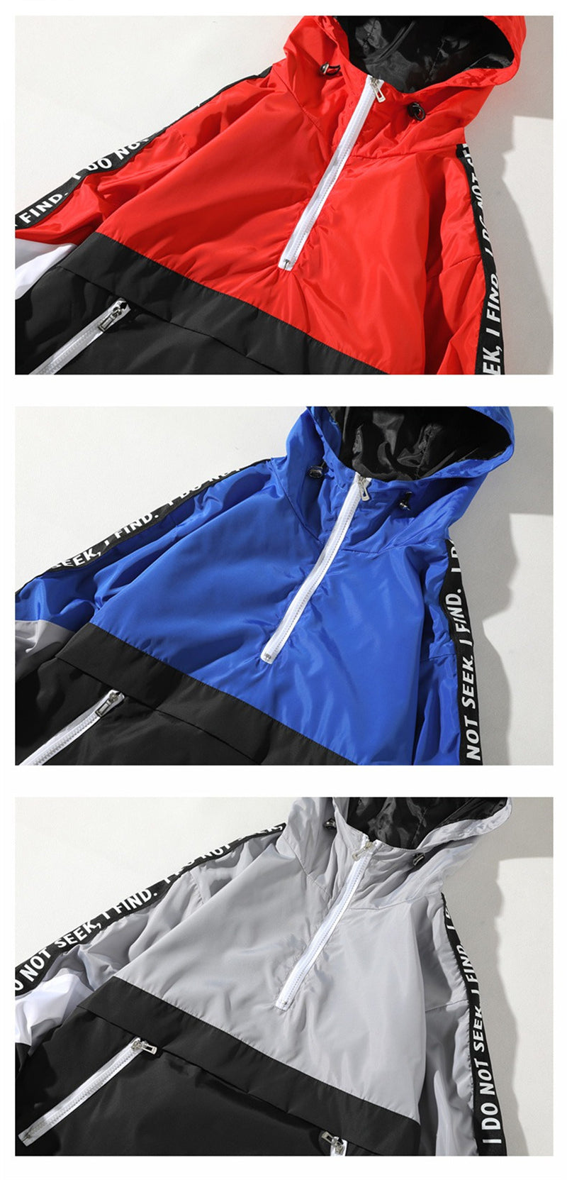 Una Reta Hooded Jackets Men 2018 New Patchwork Color Block Jacket