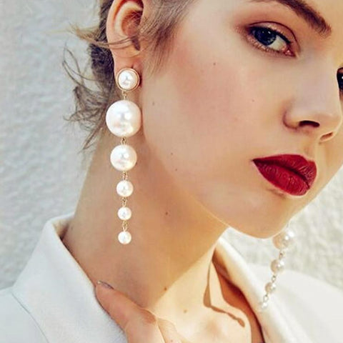 Trendy Elegant Created Big Simulated Pearl Long Earrings - Shop IB
