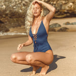 Solid One-piece Swimsuit Women Backless Deep V neck Lace Up Bodysuits - Shop IB
