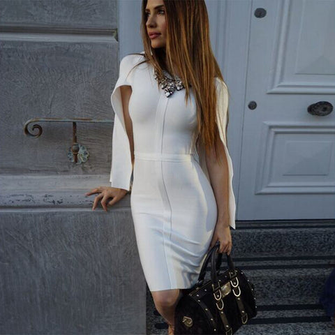 Summer Bandage Dress Celebrity Party White Batwing Sleeve O-Neck Elegant Sexy Night Out Club Dress - Shop IB