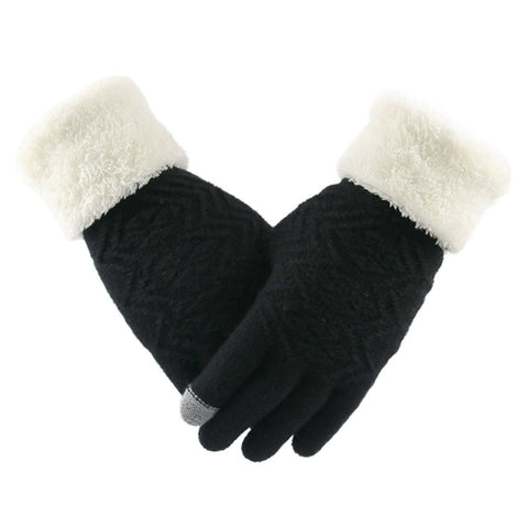 Knitted Gloves Touch Screen Women Thicken Winter Warm Gloves - Shop IB