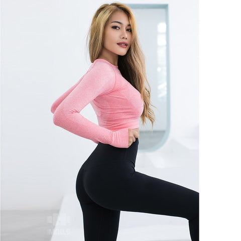 Pink Seamless Yoga Shirts Seamless Long Sleeve Crop - Shop IB