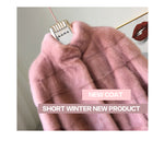 Winter New style fur cat natural mlnk stand Collar mlnk fur coat - Shop IB