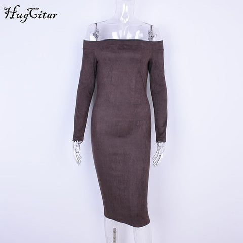 Suede Long Sleeve off shoulder Women mid-calf Dress - Shop IB