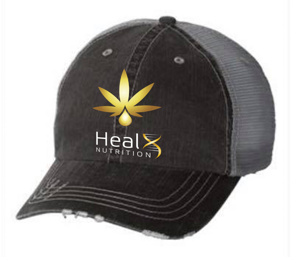 HealX Black & Gold with Gray Mesh Back- Baseball Hat - 6990