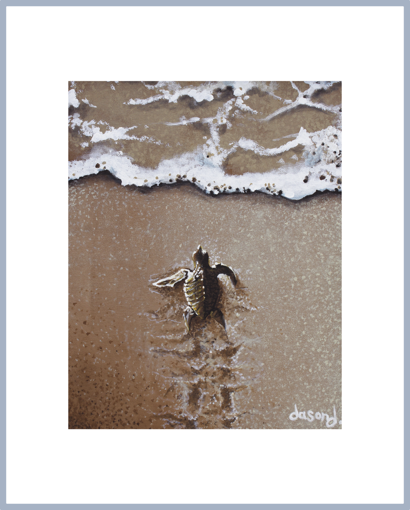 "WAJJ Portrait Print ""Life's Next Generation"" (baby turtle crawling) - World Art by Jason Juranek. Full Color Giclée Print"