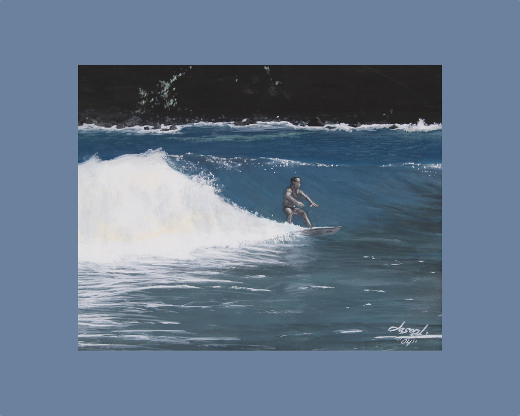 "WAJJ Landscape Print ""Paradise Cove"" (surfer) - World Art by Jason Juranek. Full Color Giclée Print"