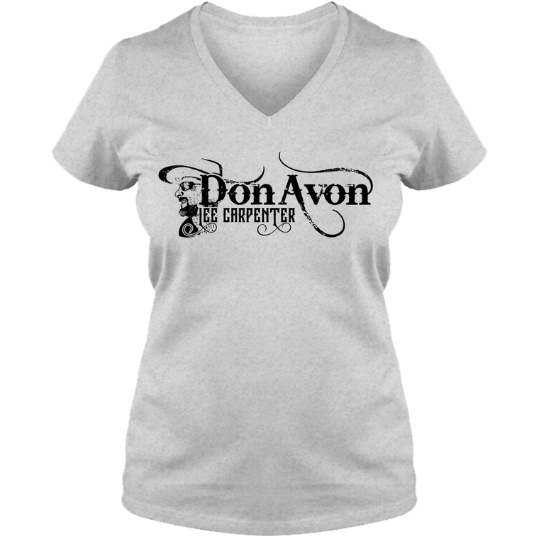 DLC - Adult Ladies V Neck Tee - Gray/White