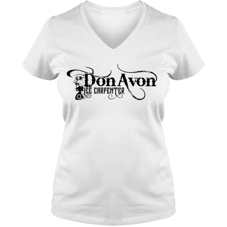 DLC - LOGO-Adult Ladies V Neck Tee - Gray/White