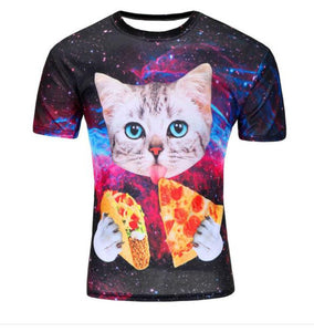 Cat Galaxy with Pizza T-Shirt