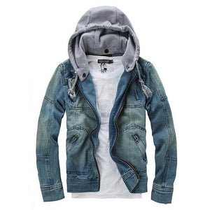 HEE GRAND 2017 New Arrival Casual Men Denim Jacket With Detachable Hat Turn-down Collar Male Cowboy Coat Plus Size M-XXXL MWJ089